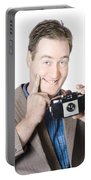 Funny Man Gesturing Big Smile With Vintage Camera Portable Battery Charger
