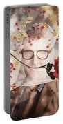 Funny Valentine Nerd Caught In Net Of Romance  Portable Battery Charger