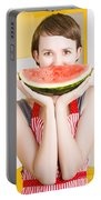 Funny Woman With Juicy Fruit Smile Portable Battery Charger