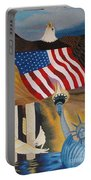 God Bless America Hand Embroidery Portable Battery Charger