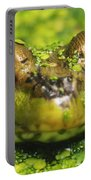 Green Frog Hiding In Duckweed Portable Battery Charger