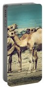 Group Of Camels In Africa Portable Battery Charger