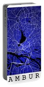 Hamburg Street Map - Hamburg Germany Road Map Art On Colored Bac Portable Battery Charger
