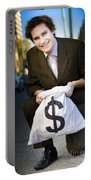 Happy Business Man Smiling With Money Bag Portable Battery Charger