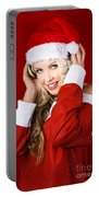 Happy Dj Christmas Girl Listening To Xmas Music Portable Battery Charger
