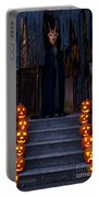 Haunted House With Lit Pumpkins And Demon Portable Battery Charger