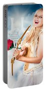 Heavenly Angel Of Love With Flower Arrow Portable Battery Charger
