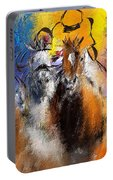 Horse Racing Abstract  Portable Battery Charger