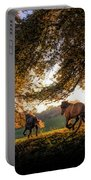 Horses Running At Sunset, Baden Portable Battery Charger
