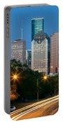 Houston Skyline At Dusk Portable Battery Charger
