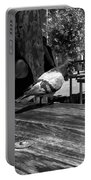 Hungry Pigeon At Mcdonalds Bw Portable Battery Charger