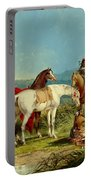 Indians Playing Cards Portable Battery Charger by John Mix Stanley