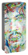 Jimi Hendrix Watercolor Portrait.1 Portable Battery Charger