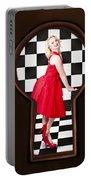 Keyhole Retro Fashion Portrait Of Stylish Girl Portable Battery Charger
