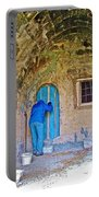 Knocking On A Blue Door Of Tufa Home In Goreme In Cappadocia-turkey  Portable Battery Charger