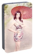 Lady With Red Parasol Portable Battery Charger