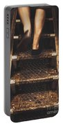 Legs Of A Bushwalking Man Climbing Wooden Stairs Portable Battery Charger