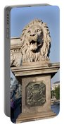 Lion Sculpture On Chain Bridge In Budapest Portable Battery Charger