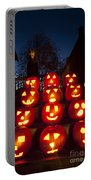 Lit Pumpkins With Demon On Halloween Portable Battery Charger