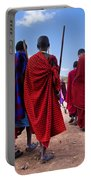 Maasai Men In Their Ritual Dance In Their Village In Tanzania Portable Battery Charger