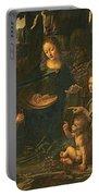 Madonna Of The Rocks Portable Battery Charger by Leonardo da Vinci