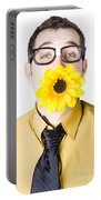Man With Flower In Mouth Portable Battery Charger