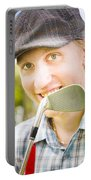 Man With Golf Club Portable Battery Charger