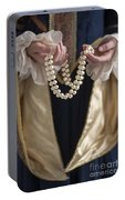 Medieval Or Tudor Woman Holding A Pearl Necklace Portable Battery Charger