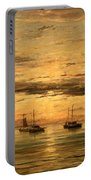 Mesdag's Sunset At Scheveningen -- A Fleet Of Shipping Vessels At Anchor Portable Battery Charger
