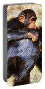 Mother Chimpanzee With Baby On Her Back Portable Battery Charger