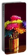 Multicolored Chrysanthemums In Paint Can Portable Battery Charger