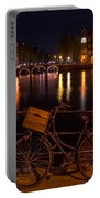 Night Lights On The Amsterdam Canals. Holland Portable Battery Charger