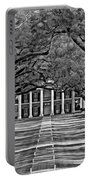 Oak Alley Bw Portable Battery Charger by Steve Harrington