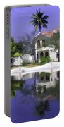 Oil Painting - Cottages And Lagoon Water In Alleppey Portable Battery Charger