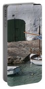 Typical Mediterranean Fishermen Boat And House In Minorca Island - Old Fishermen Villa Portable Battery Charger