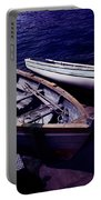 Old Wooden Boats At Night Portable Battery Charger