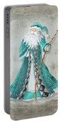 Old World Style Turquoise Aqua Teal Santa Claus Christmas Art By Megan Duncanson Portable Battery Charger