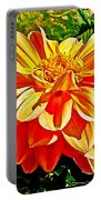 Orange Dahlia On Taquille Island In Lake Titicaca-peru  Portable Battery Charger