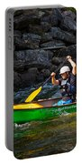 Paddler In A Whitewater Canoe Portable Battery Charger