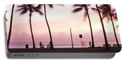 Palm Trees On The Beach, Waikiki Portable Battery Charger