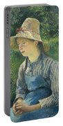 Peasant Girl With A Straw Hat Portable Battery Charger