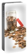 Pennies And Jar On White Background Portable Battery Charger