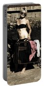 Person On A Vintage Vacation Portable Battery Charger