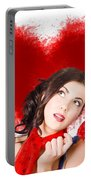 Photo Of Romantic Woman Holding Heart Shape Candy Portable Battery Charger