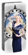Pin-up Sailor Girl On Boat. Holiday Abroad Portable Battery Charger