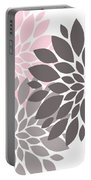 Pink Gray Peony Flowers Portable Battery Charger