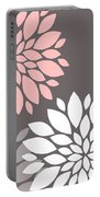 Pink Grey White Peony Flowers Portable Battery Charger