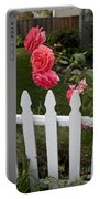 Pink Roses White Picket Fence Portable Battery Charger