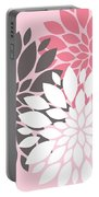 Pink White Grey Peony Flowers Portable Battery Charger