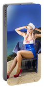 Pinup Woman On A Tropical Beach Travel Tour Portable Battery Charger